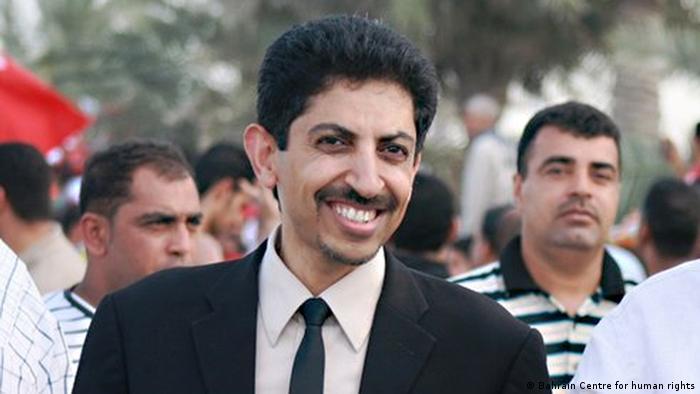 Abdulhadi Alkhawaja bei einer Veranstaltung für Demokratie (Bahrain Centre for human rights)
