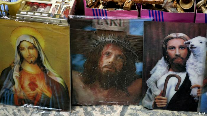 Souvenir holograms of Jesus Christ and the Virgin Mary at a shop in Jerusalem's Old City Christian quarter