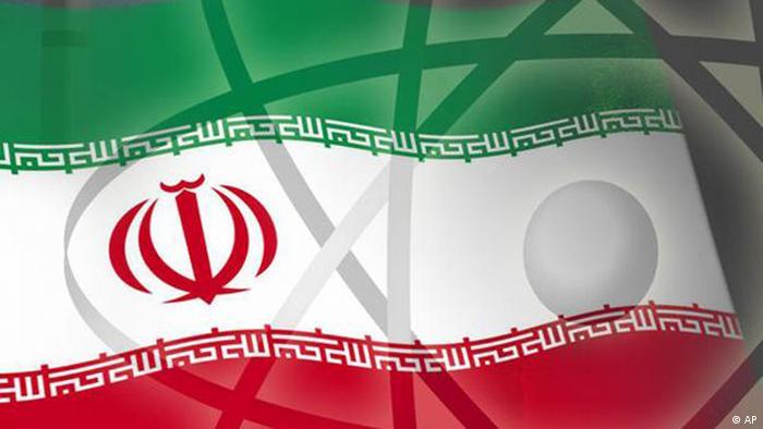 Atomsymbol vor iranischer Flagge