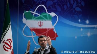 Iranian President Mahmoud Ahmadinejad delivering a speech to scientists during a ceremony to mark National Nuclear Day in Tehran on April 8, 2012.