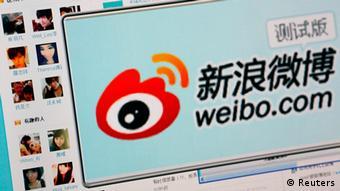 China Internet Kurznachrichtendienst Weibo Internetseite mit Logo