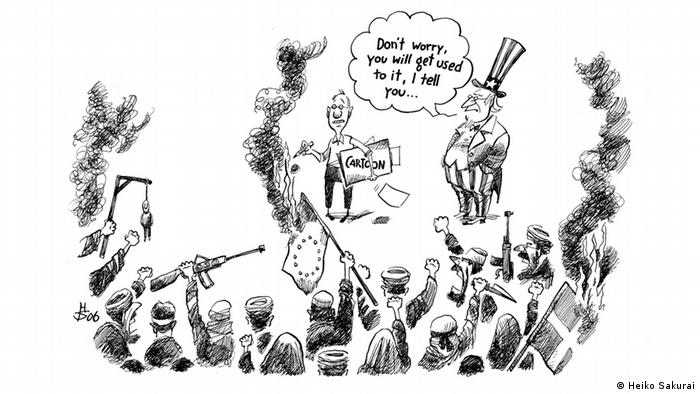 cartoon of illustrator surrounded by militant Islamists