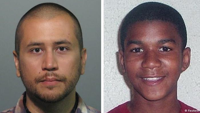 Headshots of George Zimmerman (right) and Trayvon Martin
