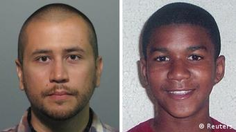 Headshots of neighborhood watch volunteer George Zimmerman (R) who has been charged with second-degree murder of unarmed black teenager Trayvon Martin (L) are seen in this combination photograph from a Seminole County, Florida, Sheriff's Office booking photograph taken on April 11, 2012 and an undated handout photo released by the Martin family public relations representative . A special prosecutor in Florida charged Zimmerman with second-degree murder on April 11, 2012 in the shooting death of Martin, a move protesters had demanded for weeks in a racially charged case that has riveted the United States. REUTERS/Handouts (UNITED STATES - Tags: CRIME LAW POLITICS) THIS IMAGE HAS BEEN SUPPLIED BY A THIRD PARTY. IT IS DISTRIBUTED BY REUTERS, AS A SERVICE TO CLIENTS. FOR EDITORIAL USE ONLY. NOT FOR SALE FOR MARKETING OR ADVERTISING CAMPAIGNS. THIS IMAGE HAS BEEN SUPPLIED BY A THIRD PARTY. IT IS DISTRIBUTED BY REUTERS, AS A SERVICE TO CLIENTS