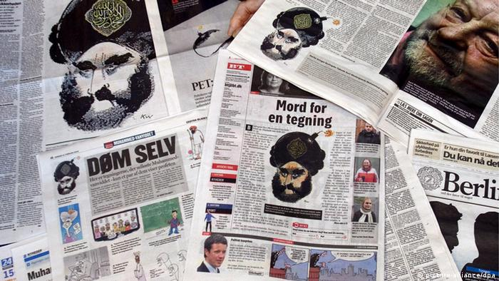 Danish newspapers display the Danish caricature of Mohammed with a bomb on his turban