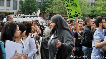 A Salafist demonstration in Frankfurt