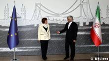 کاترین اشتون و سعید جلیلی در مذاکرات استانبول در آوریل ۲۰۱۲