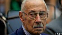 Argentina's former dictator Jorge Rafael Videla attends his trial in Buenos Aires, Argentina, Monday Feb. 28, 2011. Videla is among those who face life sentences if convicted on charges of implementing a systematic plan to steal the babies of political prisoners during the 1976-1983 dictatorship. Also charged are six other former military and police officials. (ddp images/AP Photo/Natacha Pisarenko)