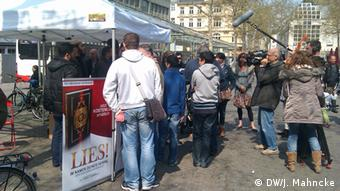 A Salafist stand in Bonn, giving away free Korans