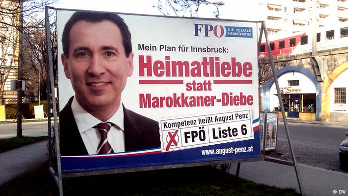 Das Wahlplakat von FPÖ Datum: 11.04.12 in Innsbruck Rechte: Mohamed Massad