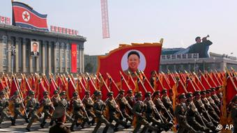 North Korean soldiers march during a military parade in Pyongyang