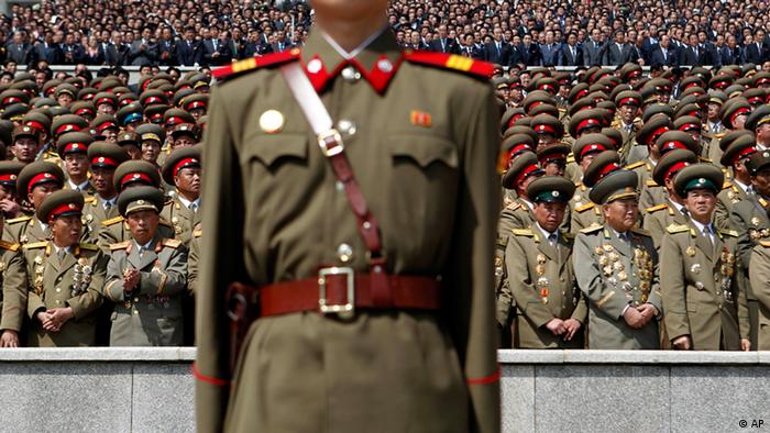North Korean military officers watch a massive military parade in Pyongyang's Kim Il Sung Square to celebrate 100 years since the birth of North Korea's founder Kim Il Sung on Sunday, April 15, 2012. North Korean leader Kim Jong Un delivered his first public televised speech Sunday, just two days after a failed rocket launch, portraying himself as a strong military chief unafraid of foreign powers during festivities meant to glorify his grandfather.