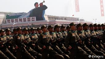 Soldiers shout as they march past the podium during a military parade to celebrate the centenary of the birth of North Korea founder Kim Il-sung in Pyongyang April 15, 2012. (Photo: REUTERS/Bobby Yip)
