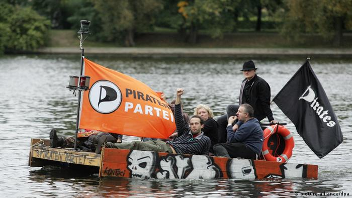 Members of Germany'as Pirate Party on raft