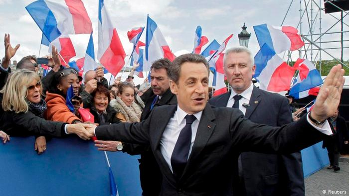 Former French President Nicolas Sarkozy attends a political rally in 2012 (Reuters)