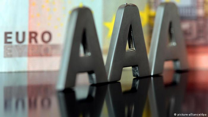 Triple A in front of euro banknote