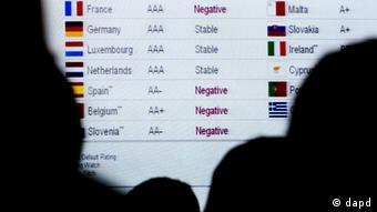 American conference delegates from the Fitch credit rating agency look at a list of European countries' credit ratings in January 2012.