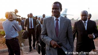 Kadre Desire Ouedraogo, President of Economic Community of West African States (ECOWAS) arrives with his delegation to Bissau, Guinea-Bissau, 16 April 2012.