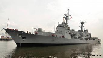 A handout photo shows a Philippines Navy warship docked at the naval headquarters in Manila December 11, 2011. The U.S. Hamilton-class cutter, Manila's largest warship, was sent to check on Chinese fishing boats after a Philippines Navy surveillance plane spotted the Chinese vessels on April 8, 2012 in the Scarborough Shoal, a small group of rocky formations whose sovereignty is contested by the Philippines and China. Two Chinese surveillance ships arrived soon after the crew from the warship inspected the fishing boats on Tuesday. The surveillance vessels sailed between the warship and the fishing boats to prevent the arrest of any fishermen. The Philippines and China traded diplomatic protests on Wednesday over a standoff in the shoal, a jointly claimed area in the South China Sea, but Manila ruled out the use of force in its enforcement of local maritime laws. Picture taken December 11, 2011. REUTERS/Philippine Navy Handout (PHILIPPINES - Tags: POLITICS MARITIME MILITARY) FOR EDITORIAL USE ONLY. NOT FOR SALE FOR MARKETING OR ADVERTISING CAMPAIGNS. THIS IMAGE HAS BEEN SUPPLIED BY A THIRD PARTY. IT IS DISTRIBUTED, EXACTLY AS RECEIVED BY REUTERS, AS A SERVICE TO CLIENTS