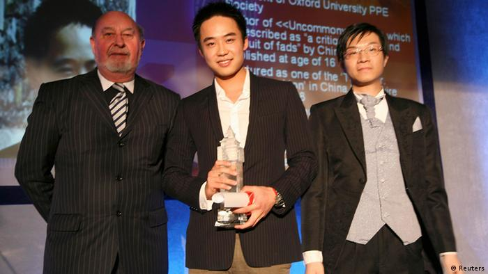 Bo Guagua (C), son of China's former Chongqing Municipality Communist Party Secretary Bo Xilai, poses for a photograph with officials after receiving the trophy for UK Ten Oustanding Chinese Young Persons in London, in this May 9, 2009 file photo. Bo Guagua, a 24-year-old descendant of Chinese Communist royalty, seemed destined to one day become a rich and powerful businessman in an economy that in his lifetime would become the world's largest. His pedigree, elite schooling, easy confidence and connections left those who knew him in no doubt he would pursue a business career and amass a fortune. That was until a British expatriate, Neil Heywood, died in November 2011 in a hotel in a huge city in western China, a world away from the clipped lawns and hushed libraries of Harvard University where Bo was studying. The story now looks certain to ruin his family and upend his ambitions. REUTERS/Stringer (BRITAIN - Tags: POLITICS CRIME LAW) CHINA OUT. NO COMMERCIAL OR EDITORIAL SALES IN CHINA