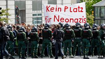 Police cordoning off a street protest against neo-Nazis in Weißenberg