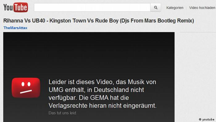 Screenshot der Website Youtube