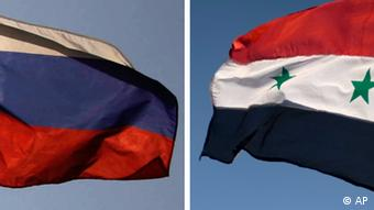 Montage of Russian and Syrian flags