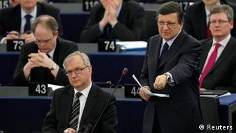 European Commission President Jose Manuel Barroso (R) addresses the European Parliament during a debate on how to combat the economic crisis and tax evasion besides European Economic and Monetary Affairs Commissioner Olli Rehn, in Strasbourg April 18, 2012. REUTERS/Vincent Kessler (FRANCE - Tags: POLITICS)