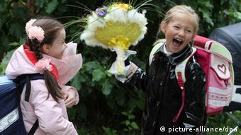 School girls with flowers at a school in Moscow