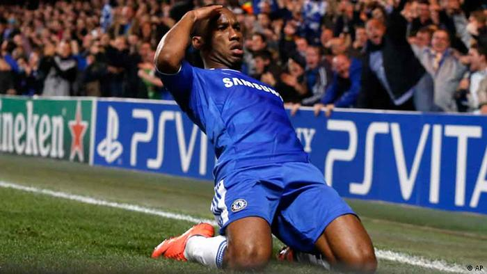 Chelsea's Didier Drogba reacts after scoring a goal against Barcelona during their Champions League semifinal first leg soccer match at Chelsea's Stamford Bridge stadium in London,Wednesday, April 18, 2012.