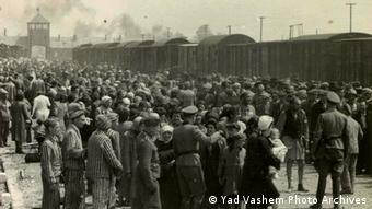 Yad Vashem archive photo shows Jews from Carpatho-Ruthenia, a region annexed in 1939 to Hungary from Czechoslovakia, arriving by train at Auschwitz-Birkenau in May 1944.
