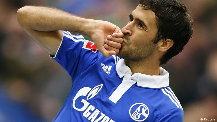 Raul Gonzales celebrating a goal for Schalke April 8, 2012. REUTERS/Kai Pfaffenbach