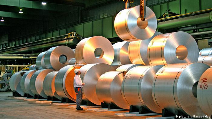 Steel coils piled up in Duisburg plant