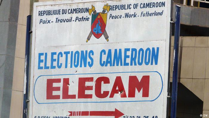 Elections in Cameroon. Sign board of the election organizing board ELECAM (DW)