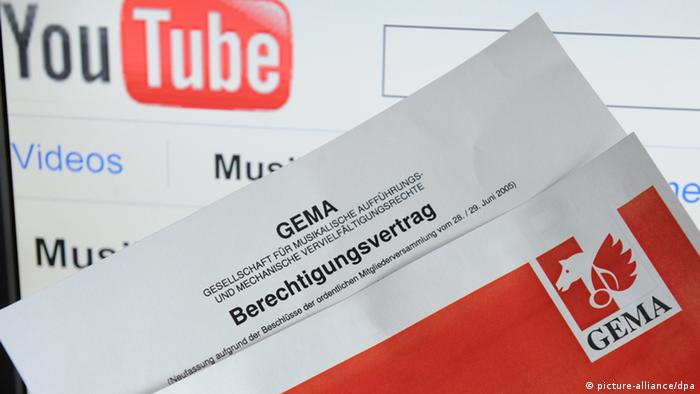 Gema licensing document in front of Youtube website