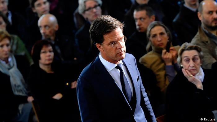 Netherlands' Prime Minister Mark Rutte arrives at a ceremony for the victims of a bus crash in Switzerland, at the Sint Pieters church in Leuven March 22, 2012. A bus carrying a Belgian school party home from a ski trip crashed into the wall of a tunnel in Sierre in the Valais region of Switzerland, killing 28 people, 22 of them children, police said on March 14. The bus transported 52 people, mostly school children from Heverlee and Lommel in Belgian Flanders. REUTERS/Pool/BELGA/Benoit Doppagne Yorick Jansens (BELGIUM - Tags: DISASTER TRANSPORT)