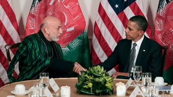 US President Barack Obama meets with Afghan President Hamid Karzai in New York