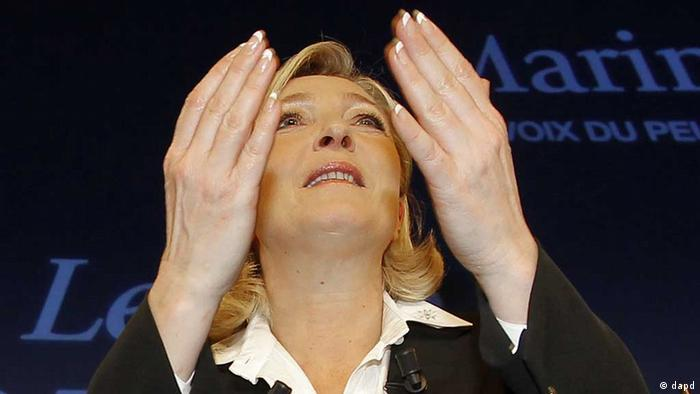 French far-right leader and National Front Party candidate for the presidential elections Marine Le Pen