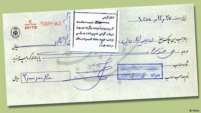 Finanzen im Iran Scheck