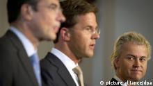 ARCHIV - Leader of the Dutch Christian party CDA Maxime Verhagen (L), leader of the Dutch liberal party VVD Mark Rutte (C) and leader of the Dutch right-wing party PVV Geert Wilders (R) present the new coalition government to the press in The Hague, The Netherlands on 30 September 2010. The parties ended their talks about a new minority government of liberals and christian democrats, supported by the far right PVV. Photo: EPA/VALERIE KUYPERS (zu dpa Jahreschronik - Die wichtigsten Ereignisse des Jahres 2010) +++(c) dpa - Bildfunk+++