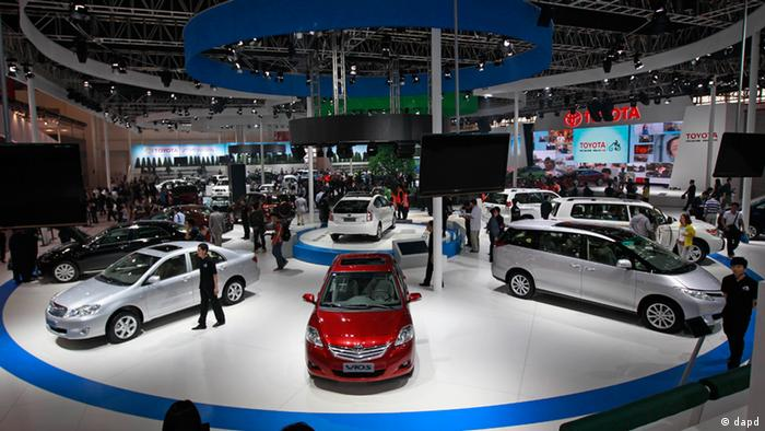Toyota Motor Corp.'s cars, including Vios, center, are on display at the Beijing International Auto Exhibition in Beijing, China, Monday, April 23, 2012. The China's biggest auto show this year opens to the public on Friday. (AP Photo/ Vincent Thian)