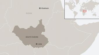 Karte Südsudan mit Sudan Englisch