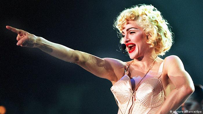 Madonna wearing her Jean Paul Gaultier bullet bra on her 1990 Blond Ambition tour (picture-alliance/dpa)
