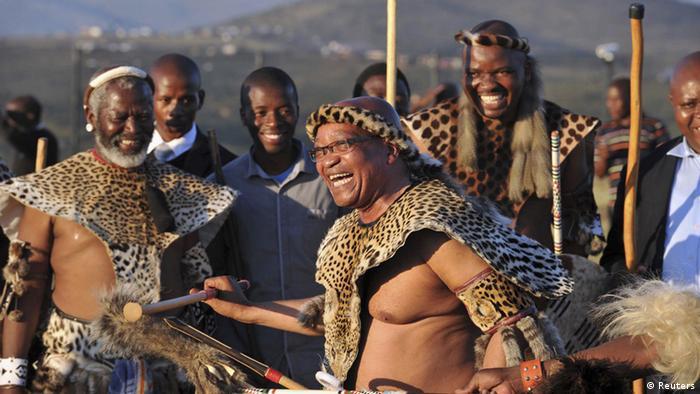 Former President Jacob Zuma dancing in traditional Zulu attire
