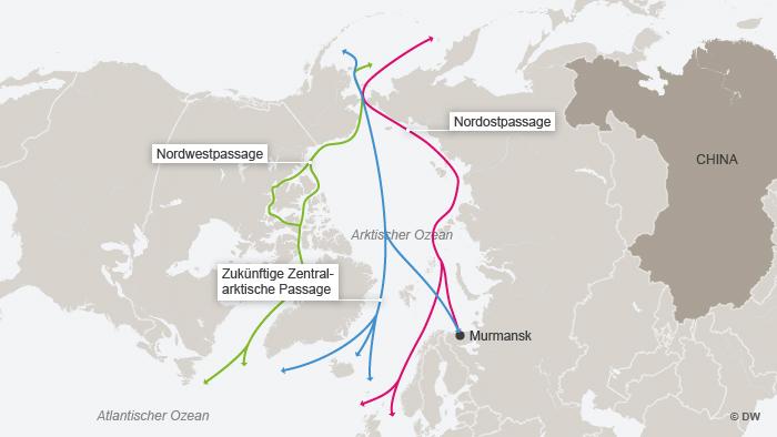 Karte Schifffahrt durch den Arktischen Ozean - Karte zeigt die zwei bisherigen Routen, Nordost- und Nordwestpassage und die evtl. zukünftige Zentralarktische Passage. / DW-Grafik: Peter Steinmetz