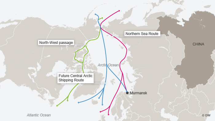 The former and new routes across the Arctic are shown in this DW graphic.  --- DW-Grafik: Peter Steinmetz