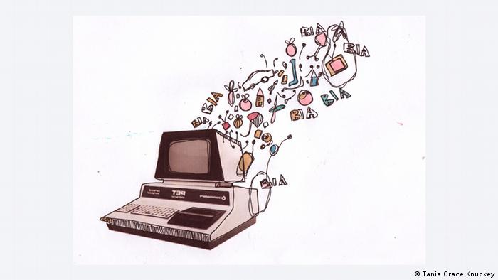 illustration: objects flowing out of computer
