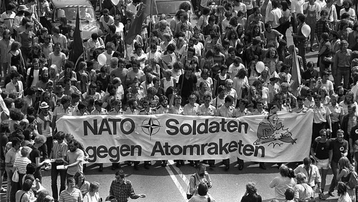 German soldiers participated in a protest in 1982 against stationing US nuclear weapons in Europe (AP)