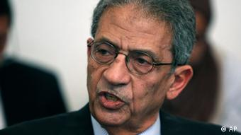 Amr Moussa at press conference