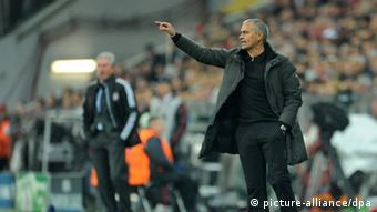 Madrid's coach Jose Mourinho gestures during the Champions League semi-final first leg soccer match between FC Bayern Munich and Real Madrid at the Allianz Arena in Munich, Germany, 17 April 2012. Munich won 2:1. Photo: Andreas Gebert dpa/lby